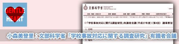 小森美登里:文部科学省「学校事故対応に関する調査研究」有識者会議